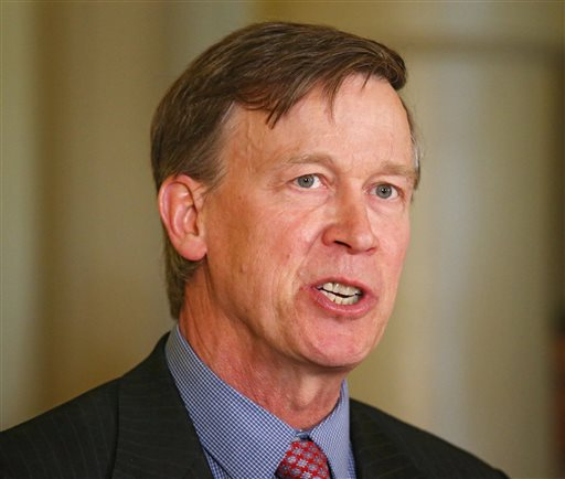 """Colorado Gov. John Hickenlooper speaks at a news conference at the Capitol in Denver in this Wednesday, May 22, 2013 file photo. Hickenlooper Saturday afternoon May 17, 2014 will sign Colorado's """"Right To Try"""" bill, which was passed unanimously in the state Legislature. The """"Right To Try"""" law allows terminally ill patients to obtain experimental drugs without getting federal approval. (AP Photo/Ed Andrieski, File)"""