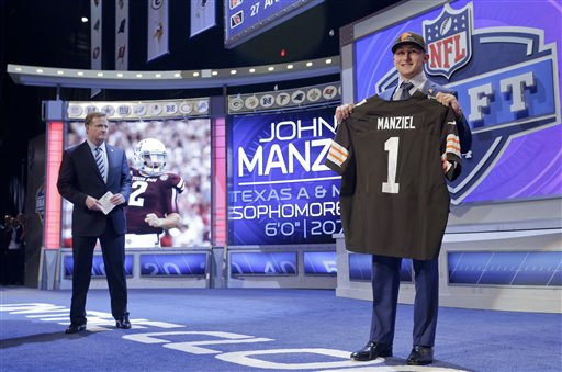 Texas A&M quarterback Johnny Manziel poses for photos after being selected by the Cleveland Browns as the 22nd pick in the first round of the 2014 NFL Draft, Thursday, May 8, 2014, in New York. (AP Photo/Craig Ruttle)