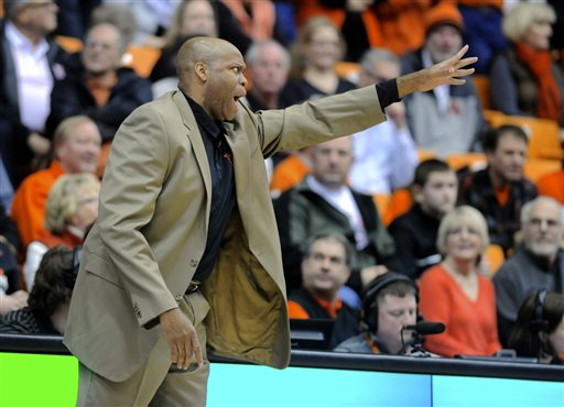 In this Feb. 2, 2014 file photo, Oregon State's head coach Craig Robinson gestures during a game against UCLA in Corvallis, Ore. Oregon State fired Robinson, Monday, May 5, 2014,  after six seasons without making the NCAA tournament.   (AP Photo/Greg Wahl-Stephens, File)