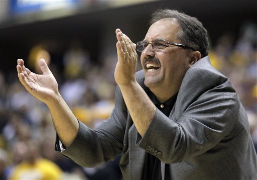 In this April 8, 2012 file photo, Orlando Magic head coach Stan Van Gundy gestures in the second half of an NBA first-round playoff basketball game against the Indiana Pacers in Indianapolis. The Detroit Pistons say they have hired Stan Van Gundy as their coach and president of basketball operations. Owner Tom Gores said Wednesday, May 14, 2014, that Van Gundy is a proven winner and a teacher who can help shape the franchise. (AP Photo/Michael Conroy, File)