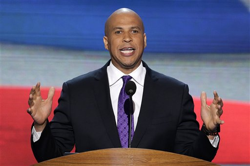 Newark Mayor Cory Booker addresses the Democratic National Convention in Charlotte, N.C., on Tuesday, Sept. 4, 2012. (AP Photo/J. Scott Applewhite)