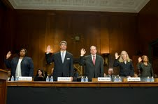Court nominees (left to right) Leslie Abrams, Michael Boggs, Mark Cohen, Leigh May and Eleanor Ross testify before Senate Judiciary Committee (NNPA Photo by Freddie Allen)