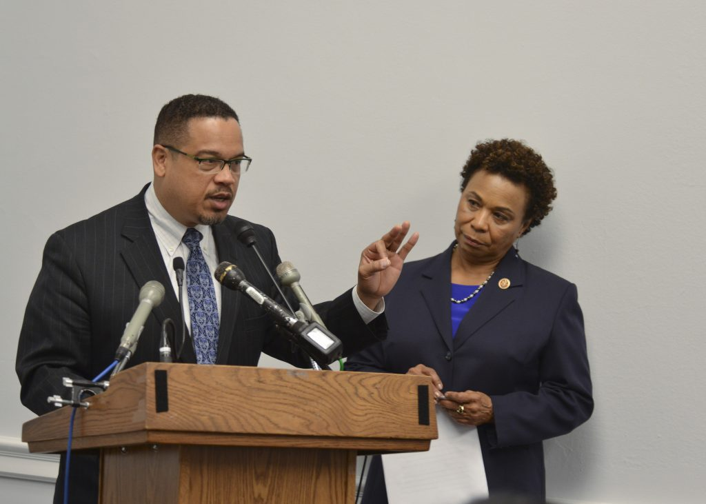 Rep. Keith Ellison (D-Minn.) discusses wealth gap as Rep. Barbara Lee (D-Calif.) looks on (NNPA Photo by Freddie Allen)