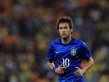 Brazil's Neymar, during their international friendly soccer match against South Africa during their international friendly soccer match at Soccer City Stadium in Johannesburg, South Africa, Wednesday, March 5, 2014. Brazil beat South Africa 5-0. (AP Photo/Themba Hadebe)