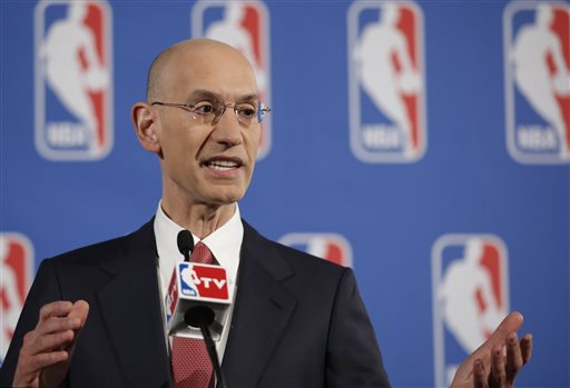 NBA Commissioner Adam Silver gestures as he answers reporters' questions during a news conference before the NBA draft lottery in New York, Tuesday, May 20, 2014.  (AP Photo/Kathy Willens)