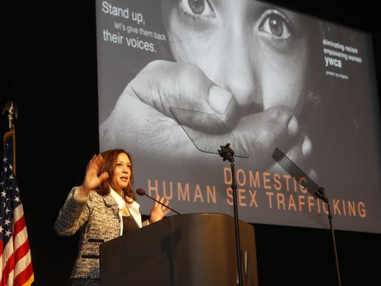 California Attorney General Kamala Harris addresses the Domestic Human Trafficking symposium in Los Angeles, Friday, April, 25, 2014. (AP Photo)