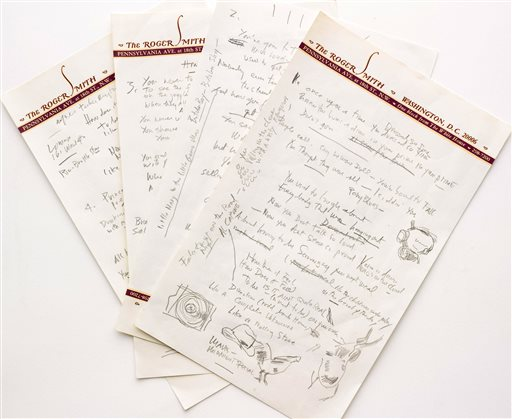 "This undated file photo provided by Sotheby's shows a working draft of Bob Dylan's ""Like a Rolling Stone,"" one of the most popular songs of all time. The draft, in Dylan's own hand, is coming to auction in New York on Tuesday, June 24, 2014, where it could fetch an estimated $1 million to $2 million. Sotheby's says it is ""the only known surviving draft of the final lyrics for this transformative rock anthem."" (AP Photo/Sotheby's, File)"
