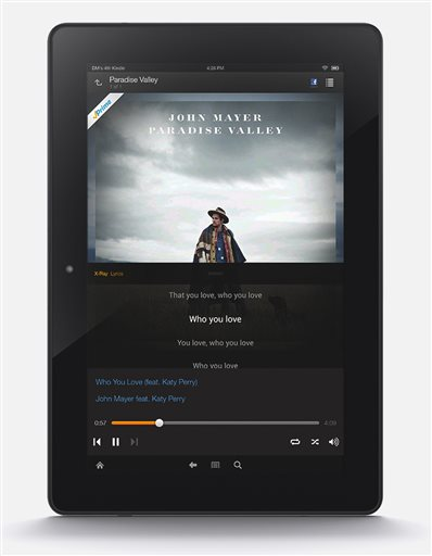This product image released by Amazon features the company's new Prime Music streaming service. Starting Thursday, June 12, 2014, Amazon.com Inc. will offer more than a million tracks for ad-free streaming and download to Kindle Fire tablets as well as to computers and the Amazon Music app for Apple and Android devices. (AP Photo/Amazon)