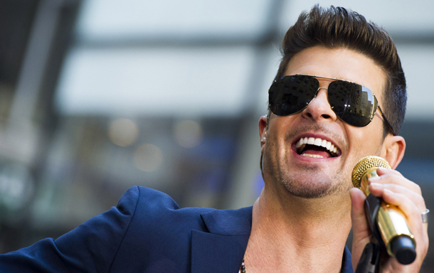 "Robin Thicke performs on NBC's ""Today"" show on Tuesday, July 30, 2013 in New York. (Photo by Charles Sykes/Invision/AP)"