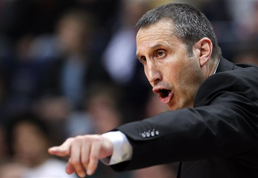 In this Nov. 7, 2013, file photo, Maccabi Electra Tel Aviv coach  David Blatt gestures to his players during their Euroleague basketball match against Lithuania's BC Lietuvos rytas in Vilnius,  Lithuania. The Cleveland Cavaliers offered the successful European coach its coaching job Thursday night, June 19,2 014, and is discussing a contract with him, said a person who spoke to The Associated Press on condition of anonymity because the team is not commenting.  (AP Photo/Mindaugas Kulbis, File)