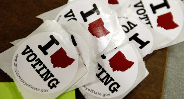 Ohio voting stickers are shown. (AP Photo)