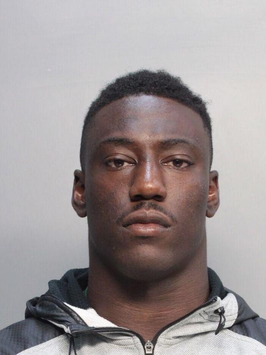 University of Miami football player JaWand Blue is shown, Tuesday, July 8, 2014. Court and jail record show that Blue and teammate Alexander Figueroa face sexual battery charges. (AP Photo)