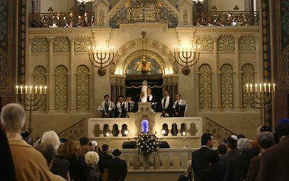 The reopening of Germany's biggest synagogue at the Rykestrasse in Berlin (AP Photo)