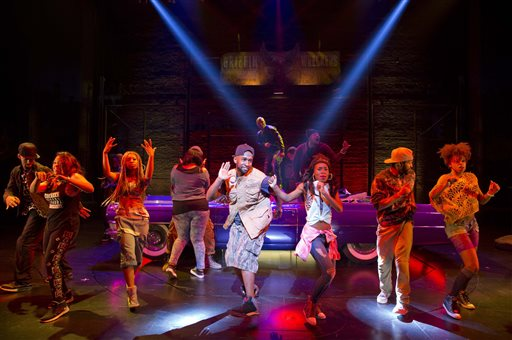 "This image released by Boneau/Bryan-Brown shows the cast performing in ""Holler If Ya Hear Me,"" at the Palace Theatre in New York. Tupac Shakur fans, keep ya head up. Producers said late Monday, July 14, 2014, that the show will close Sunday at the Palace Theatre after playing just 17 previews and 38 regular performances.  (AP Photo/Boneau/Bryan-Brown, Joan Marcus, file)"