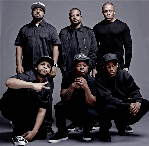 "This photo released by Universal Pictures shows the cast and filmmakers of ""Straight Outta Compton, "" clockwise, from top left, producer Ice Cube, director F. Gary Gray, producer Dr. Dre, Corey Hawkins (Dr. Dre), Jason Mitchell (Eazy-E) and O'Shea Jackson Jr. (Ice Cube).   (AP Photo/Universal Pictures, Todd MacMillan)"