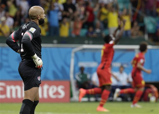 United States' goalkeeper Tim Howard reacts after Belgium's Romelu Lukaku scored his side's second goal during the World Cup round of 16 soccer match between Belgium and the USA at the Arena Fonte Nova in Salvador, Brazil, Tuesday, July 1, 2014.   (AP Photo/Julio Cortez)