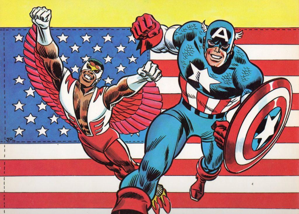 Falcon (left) and Captain America,1975