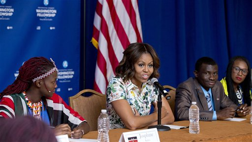First lady Michelle Obama speaks to selected participants of the Presidential Summit for the Washington Fellowship for Young African Leaders in Washington, Wednesday, July 30, 2014, during a roundtable discussion.  (AP Photo/Manuel Balce Ceneta)