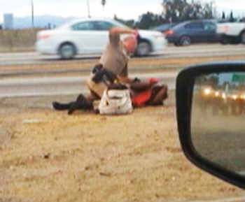 In this July 1, image made from video provided by motorist David Diaz, a California Highway Patrol officer straddles a woman while punching her in the head on the shoulder of a Los Angeles freeway. The woman had been walking on Interstate 10 west of downtown Los Angeles, endangering herself and people in traffic, and the officer was trying to restrain her, according to a CHP assistant chief. The officer, who has not been identifi ed, has been placed on administrative leave during an investigation.