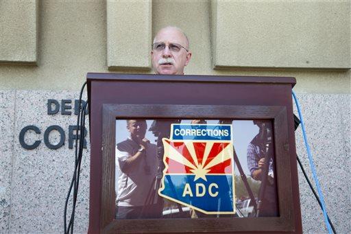 Arizona Department of Correction Director Charles Ryan talks about the review of the execution of Joseph Rudolph Wood, in Phoenix, on Thursday July 24, 2014. The nearly two-hour execution Wednesday of a convicted murderer prompted a series of phone calls involving the governor's office, the prison director, lawyers and judges as the inmate gasped for more than 90 minutes. They discussed the brain activity and heart rate of Wood, who was gasping over and over as witnesses looked on. The judge was concerned that no monitoring equipment showed whether the inmate had brain function, and they talked about whether to stop the execution while it was so far along. (AP Photo/The Arizona Republic, Nick Oza)