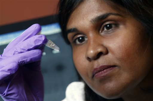 In this undated file image provided by Johns Hopkins Medicine in 2005 Dr. Deborah Persaud, a pediatric HIV expert at Johns Hopkins' Children's Center in Baltimore, holds a vial. On Thursday, July 10, 2014, doctors and officials at the National Institutes of Health said new tests last week showed that a Mississippi girl born with the AIDS virus is no longer in remission. The girl is now back on treatment and is responding well, doctors said. (AP Photo/Johns Hopkins Medicine, File)
