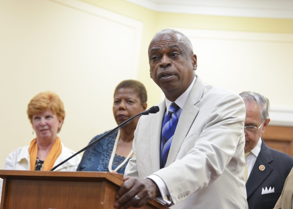 Wade Henderson, president and CEO of the Leadership Conference on Civil and Human Rights talks about the 2014 Voting Rights Amendment Act at a press conference on Capitol Hill. (Freddie Allen/NNPA)