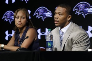"In this May 23, 2014, file photo, Baltimore Ravens running back Ray Rice, right, speaks alongside his wife, Janay, during a news conference, Friday, May 23, in Owings Mills, Md. Rice's two-game suspension for domestic violence begins Saturday, a punishment handed down after grainy video showed him dragging his then-fiancee off a casino elevator unconscious Feb. 15. He has not divulged what happened in the elevator except to call his actions ""totally inexcusable'' at a news conference after his suspension was announced. His assault charges could be expunged once he completes a diversion program. So the NFL gave him the only punishment he likely faces in a suspension and a fine that totals more than $500,000. (AP Photo/Patrick Semansky, File)"