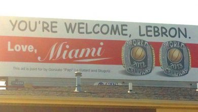 Photo of 'You're Welcome, LeBron,' Reads Billboard Purchased by Miami Radio Host
