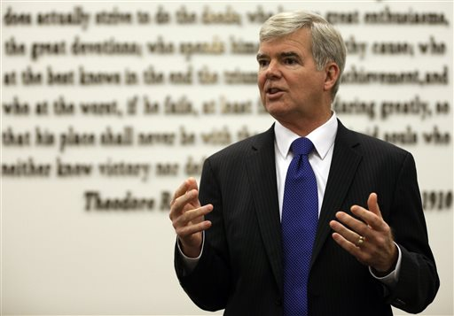 NCAA President Mark Emmert gestures while speaking at NCAA headquarters in Indianapolis, Thursday, Aug. 7, 2014. The NCAA Board of Directors overwhelmingly approved a package of historic reforms Thursday that will give the nation's five biggest conferences the ability to unilaterally change some of the basic rules governing college sports. (AP Photo/Michael Conroy)