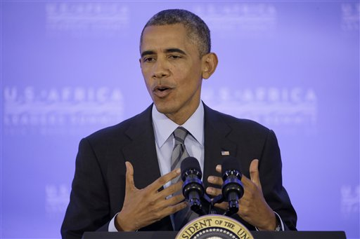 President Barack Obama answers a question during a news conference at the U.S. Africa Leaders Summit in Washington, Wednesday, Aug. 6, 2014. (AP Photo/Jacquelyn Martin)