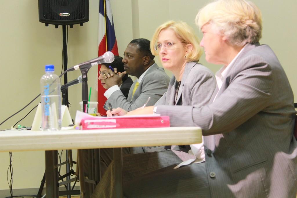 EPA representatives (left to right) Ruben Caso, Fred Thompson, Penny Lassiter and Brenda listen at public hearing. (Courtesy of LaGloria Wheatfall)