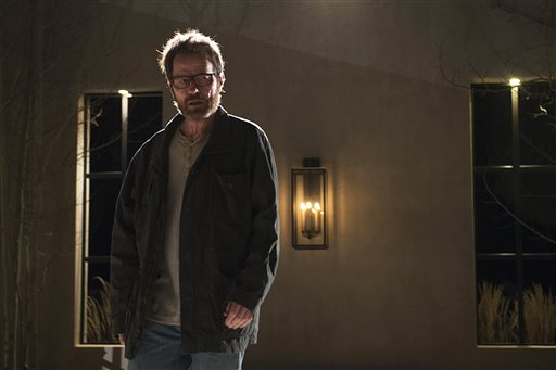 """This photo released by AMC shows Bryan Cranston as Walter White in """"Breaking Bad,"""" season 5. The TV show has 16 nominations for the 2014 Emmy Awards. The 66th Primetime Emmy Awards are held on Monday, August 25, 2014, in Los Angeles. (AP Photo/AMC, Ursula Coyote)"""