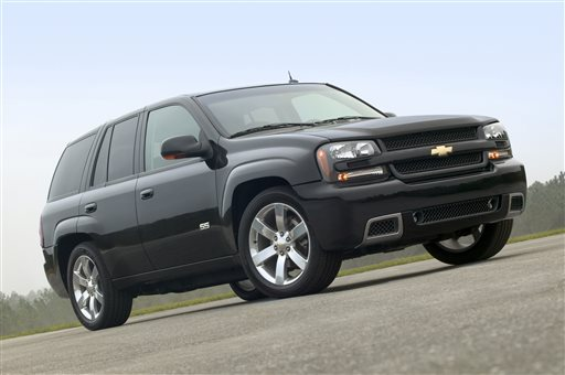 This undated file photo made available by General Motors Co., shows the 2006 Chevy TrailBlazer SS sport utility vehicle. General Motors' troubles with safety recalls have surfaced in another case, this time with the company recalling a group of SUVs, including the 2006-2007 Chevrolet Trailblazer, for a third time to fix power window switches that can catch fire. (AP Photo/General Motors Co., File)