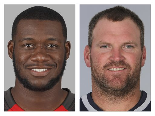 From left are 2014, file photos showing Tampa Bay Buccaneers' Tim Wright, and New England Patriots' Logan Mankins. The Buccaneers addressed a need to upgrade their struggling offensive line by obtaining six-time Pro Bowl guard Logan Mankins from the Patriots for tight end Tim Wright and a draft pick. The deal Tuesday, Aug. 26, 2014,  comes less than 24 hours after the Bucs met with Richie Incognito to try to determine if one of the central figures in the Miami Dolphins bullying scandal might be an answer to their problems at guard. (AP Photo/File)