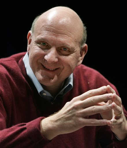 In this March 2, 2010,  file photo, Microsoft Corp. CEO Steve Ballmer speaks in Santa Clara, Calif. Ballmer is officially the new owner of the Los Angeles Clippers. The team says the sale closed Tuesday, Aug. 12, 2014,  after a California court confirmed the authority of Shelly Sterling, on behalf of the Sterling Family Trust, to sell the franchise.  (AP Photo/Paul Sakuma, file)
