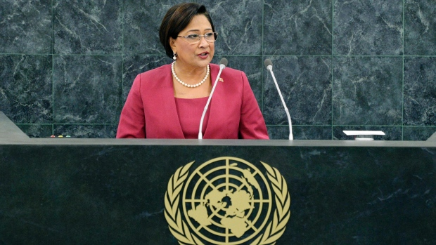 Kamla Persad-Bissessar, Prime Minister of the Republic of Trinidad and Tobago, addresses the 68th session of the General Assembly at United Nations headquarters, Wednesday, Sept. 25, 2013. (AP / Andrew Burton)