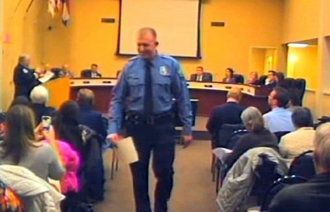 An image of Darren Wilson at a city council meeting in Ferguson. (City of Ferguson via AP)