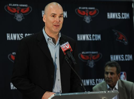 """FILE - In this June 25, 2012, file photo, Atlanta Hawks president of operations and general manager Danny Ferry speaks during a news conference in Atlanta, as team co-owner Bruce Levenson, right, looks on. Ferry has been disciplined by CEO Steve Koonin for making racially charged comments about Luol Deng when the team pursued the free agent this year. Ferry apologized Tuesday, Sept. 9, 2014,  for """"repeating comments that were gathered from numerous sources"""" about Deng.  (AP Photo/The Atlanta Journal-Constitution, Johnny Crawford)"""