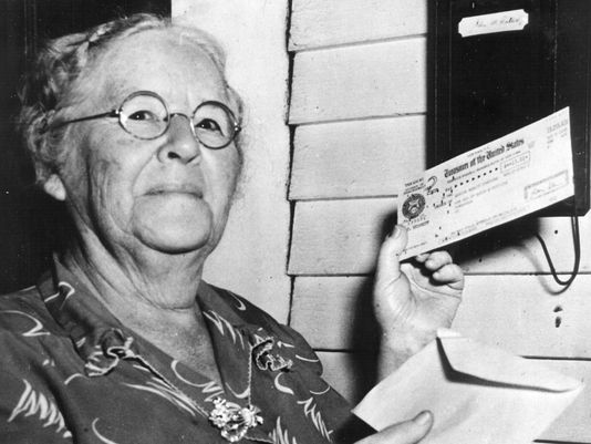 First monthly Social Security check recipient Ida May Fuller Fuller was the first Social Security beneficiary to receive a recurring monthly payment (beginning Jan. 31, 1940). [Courtesy of USA Today]