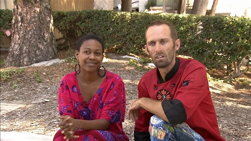 "Actress Daniele Watts and Brian Lucas speak during an interview with KABC-TV in Los Angeles, Sunday, Sept. 14, 2014. The Los Angeles Police Department said Sunday that officers detained Watts and her companion last week after a complaint that two people were ""involved in indecent exposure"" in a silver Mercedes. Watts was detained until police determined no crime was committed. (AP Photo/KABC-TV)"