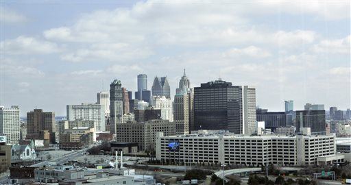 This April 9, 2008 file photo shows the city of Detroit. An attorney for Detroit is set to resume his opening statement, Wednesday, Sept. 3, 2014, at the city's historic bankruptcy trial, after telling the judge on the first day that the city's plan to restructure billions of dollars in debt is needed to free up funds to provide services to residents and allow it to survive. (AP Photo/Carlos Osorio, file)
