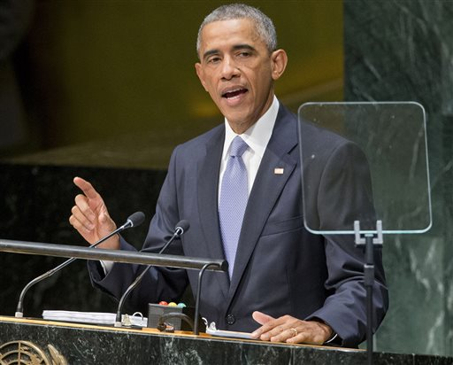 "U.S. President Barack Obama addresses the 69th session of the United Nations General Assembly at the U.N. headquarters, Wednesday, Sept. 24, 2014. Obama told the United Nations amid a U.S.-led bombing campaign against Islamic State militants that he will build a coalition to ""dismantle this network of death."" (AP Photo/Pablo Martinez Monsivais)"