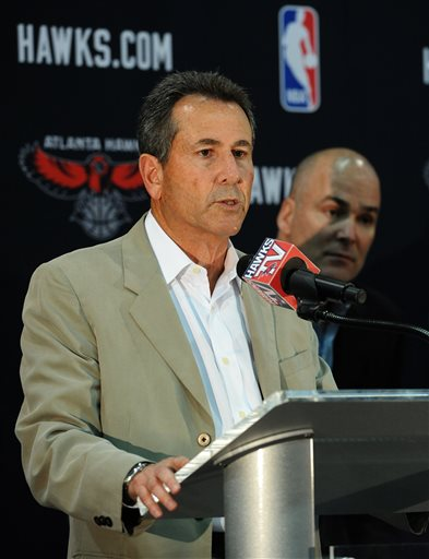 "In this June 25, 2012, file photo, Atlanta Hawks co-owner Bruce Levenson introduces new Hawks president of operations and general manager Danny Ferry, right,  during a news conference in Atlanta. Ferry has been disciplined by CEO Steve Koonin for making racially charged comments about Luol Deng when the team pursued the free agent this year.  Ferry apologized Tuesday, Sept. 9, 2014,  for ""repeating comments that were gathered from numerous sources"" about Deng. Hawks spokesman Garin Narain said that team's investigation of Ferry's comments uncovered the racially inflammatory email written by Levenson. That discovery led to Levenson's announcement Sunday, Sept. 7, 2014, that he will sell his controlling share of the team. (AP Photo/The Atlanta Journal-Constitution, Johnny Crawford)"