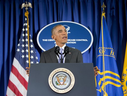 President Barack Obama speaks at the Centers for Disease Control and Prevention (CDC) in Atlanta, Tuesday, Sept. 16, 2014. Obama traveled to the CDC, to address the Ebola crisis and announced that he is sending 3,000 American troops to West Africa nations fight the spread of the Ebola epidemic. (AP Photo/Pablo Martinez Monsivais)
