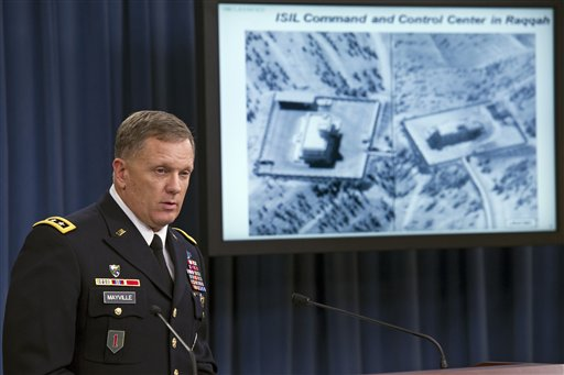 """Army Lt. Gen. William Mayville, Jr., Director of Operations J3, speaks about the operations in Syria, Tuesday, Sept. 23, 2014, during a news conference at the Pentagon. In a separate action from the air strikes against the Islamic State group, the U.S. bombed a cell of al Qaida militants in northwestern Syria after concluding they were close to attacking the U.S. or Europe, Pentagon officials say. Mayville, the Pentagon's operations chief, said that the Khorasan Group was nearing """"the execution phase of an attack either in Europe or the homeland."""" (AP Photo/Cliff Owen)"""
