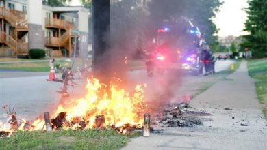 Photo of Fire Destroys Michael Brown Memorial in Ferguson