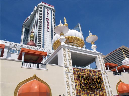 This April 8, 2013 file photo shows the Trump Taj Mahal Casino Resort, in Atlantic City N.J. Trump Entertainment Resorts on Tuesday, Sept. 9, 2014, filed for protection in U.S. Bankruptcy Court in Wilmington, Del. saying it has liabilities of more than $100 million. (AP Photo/Wayne Parry, File)