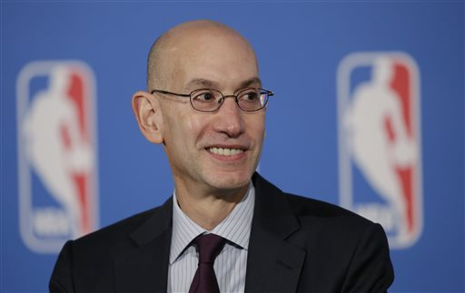 NBA Commissioner Adam Silver answers questions at a news conference after a deal was announced between the league and TV networks, Monday, Oct. 6, 2014 in New York. The NBA has extended its television deals with ESPN and TNT for nine years. The league announced Monday that the new contracts will run through the 2024-25 season. The previous eight-year agreements end after the 2015-16 season. (AP Photo/Mark Lennihan)