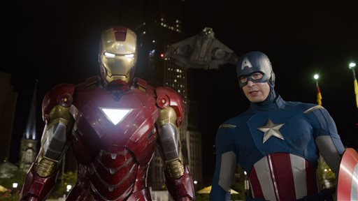 "This film image released by Disney shows, Iron Man, portrayed by Robert Downey Jr., left, and Captain America, portrayed by Chris Evans, in a scene from ""The Avengers."" Ahead of the release of next year's ""The Avengers: Age of Ultron"" and ""Ant-Man,"" Marvel is hosting a special 45-minute presentation on Tuesday, Oct. 28, 2014, at the El Capitan Theatre in Hollywood. (AP Photo/Disney)"