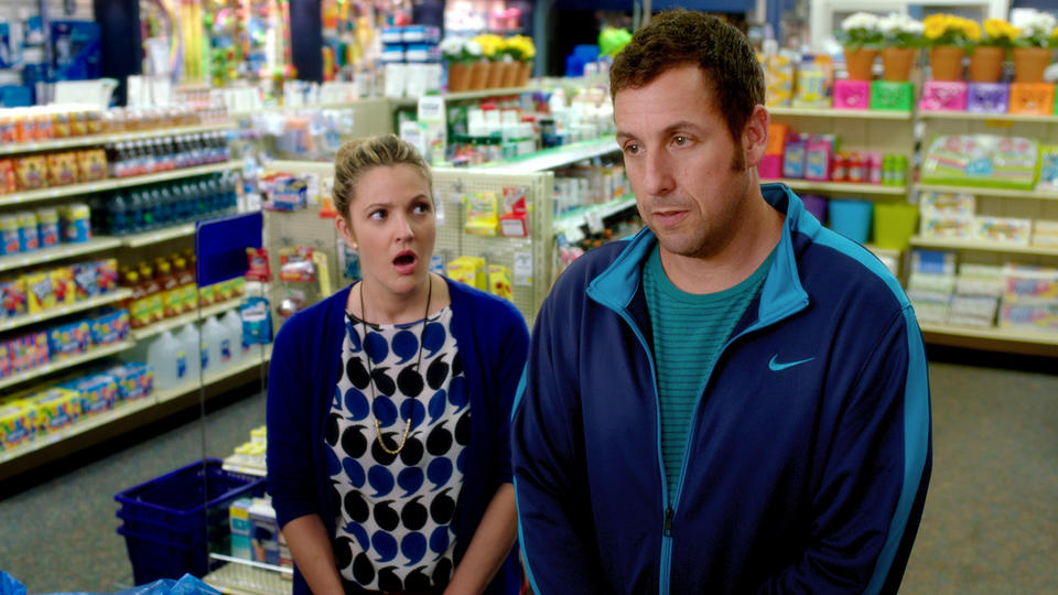 "This image released by Warner Bros. Pictures shows Drew Barrymore, left, and Adam Sandler in a scene from the film, ""Blended."" (AP Photo/Warner Bros. Pictures)"